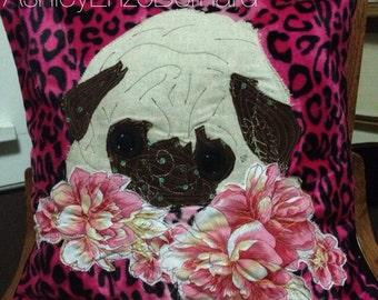 "16"" leopard PUG PILLOW cover"