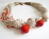 Linen Necklace, Tagua Nut Necklace, Asymmetric  Necklace, Orange Tagua Nut, Natural Necklace