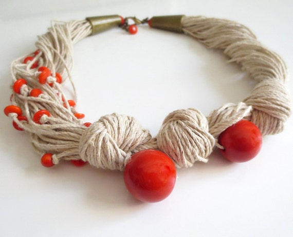 Linen Necklace, Tagua Nut Necklace, Asymmetric  Necklace, Orange Tagua Nut, Natural Necklace