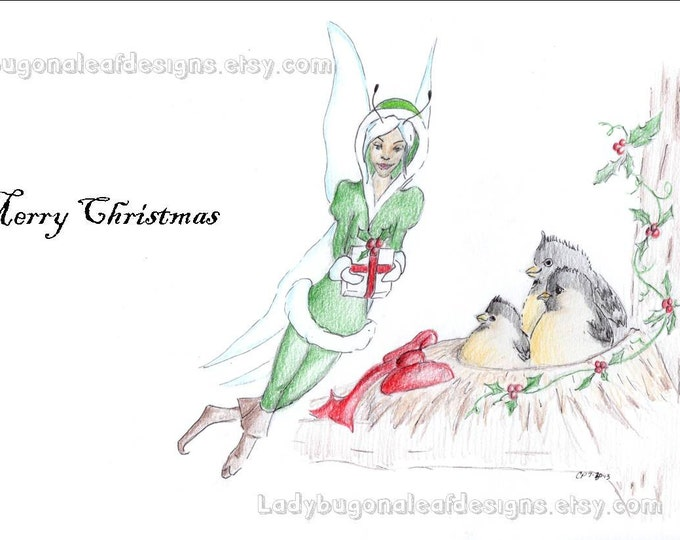 Fairy Christmas Cards Set of 3 Winter Fairy Delivering Gift to Bird Family Drawing, made on recycled paper, comes with envelope and seal