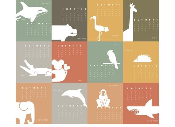 Calendar Illustration Ideas : Items similar to printable calendar animal