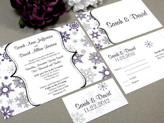 Winter Snowflake Wedding Invitation Set by RunkPock Designs : Modern Script Calligraphy Invitation Suite shown in dark purple / gray / black