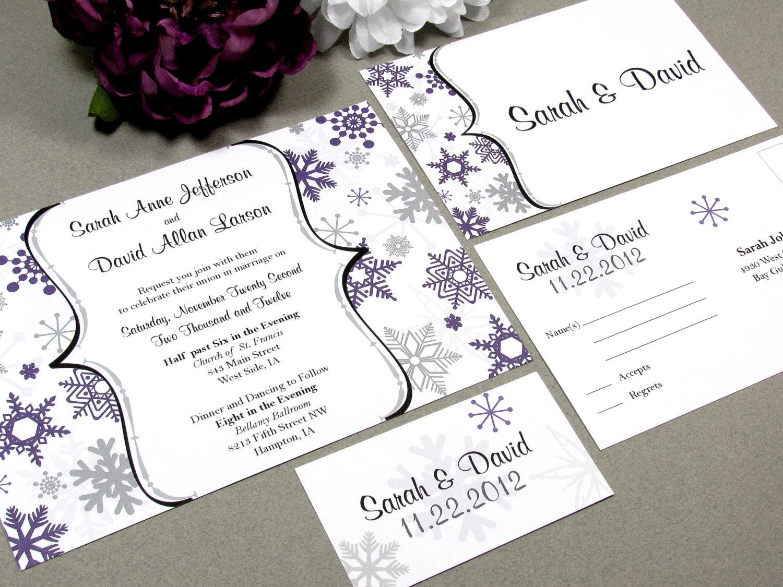 Winter Wedding Invitation Wording: Winter Snowflake Wedding Invitation Set By RunkPock Designs