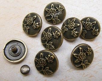 10sets 15mm VINTAGE flower pattern studs Rivets Nailheads decorating item for leathercrafts