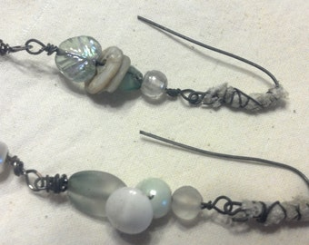 Bead & Vintage Button Asymmetrical EarRings..Aqua Whispers...FREE Shipping in the USA