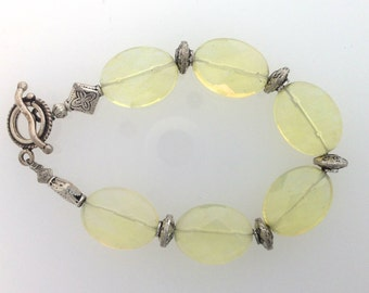 Lemon Quartz and Sterling Bracelet      (12-0162)