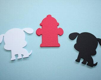 18 x Fire Hydrant and Dalmation Die Cuts
