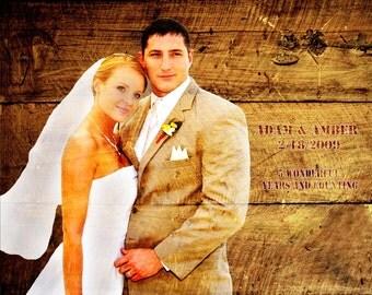 5th Anniversary, Wood Print, Photo to Wood, REAL WOOD Custom  Wood Anniversary Gift Wedding Decoration or Wedding Anniversary Gift 16x20