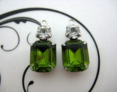 10x8 Swarovski Olivine Green Octagon and Crystal Clear Round Rhinestone in Silver Double One Ring Setting 1 Pair