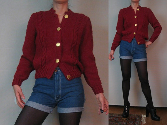Vintage 70s Merlot Wine Burgundy Wool CABLE Knit Cardigan Sweater w/ Huge STAMPED GOLD Metal Buttons Small Medium
