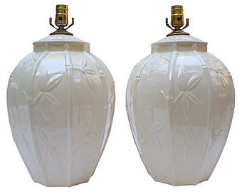 Hollywood Regency Vintage Chinoiserie Pair of Creamy White Bamboo Detailed Lamps