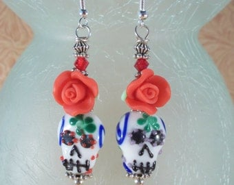Cowgirl Earrings Day of the Dead Lampwork Sugar Skulls with Red Roses