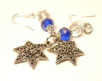 Hanukkah Earrings, Sterling Silver and Genuine Blue and Aurora Borealis Swarovski Crystals with Pewter Star of David, Hanukkah Jewelry