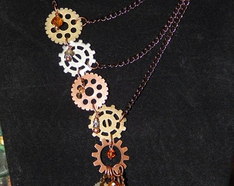 Steampunk and copper Swarovski crystal Necklace