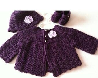 Crochet Baby Sweater Hat Booties Set Plum Newborn