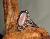 Vintage NAVAJO Ring PINK Mother of Pearl Size 4 1/2 HANDMADE