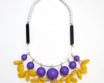 Sunny Day - Colorful Yellow Purple Beads Wood Handmade Plastic Necklace