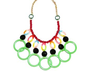 Let's Dance - Plastic Lucite Green Red Gold Beads Handmade Statement Necklace