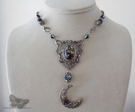 The Goddess Nyx - Midnight Moon Goddess Vintage Filigree Harlequin Necklace