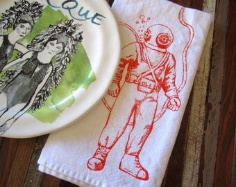 Cloth Napkins - Screen Printed Cloth Napkins - Eco Friendly Dinner Napkins - Deep Sea Diver - Nautical - Handmade - Cotton Cloth Napkins