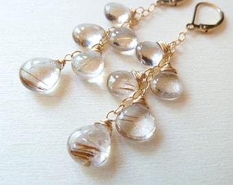 Rutilated Quartz earrings. Neutrals. Wire wrapped. Dangle earrings. April birthstone earrings.