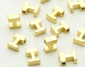 IN-018-MG / 2 Pcs - Initial Tiny Pendant, Alphabet, Capital letter, Upper case, I, Matte Gold Plated over Brass / 5mm x 7mm