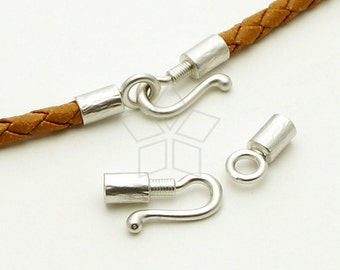 CS-053-MS / 2 set - Hook Clasps for 3mm Leather Cord, Matte Silver Plated over Brass / 24mm