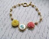 Pastel Flower bracelet, Vintage Blue Rose bracelet, Yellow Chrysanthemum bracelet, Pink Rose bracelet