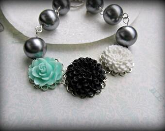 Aqua, Black and White bracelet, Aqua rose bracelet, Black Chrysanthemum bracelet, White Chrysanthemum bracelet, Grey Pearl bracelet