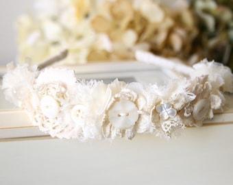 Bridal Hairpiece, Floral Crown, Flower Headband, Bridal Headband, Flower Girl Hairband, Shabby Chic Floral Hairpiece