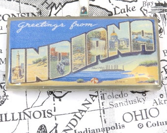 Greetings from INDIANA Vintage Large Letter Postcard Pendant Necklace