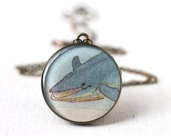 Blue Whale Art Pendant Necklace - Vintage Art, Round Pendant Nautical Aquatic Sea
