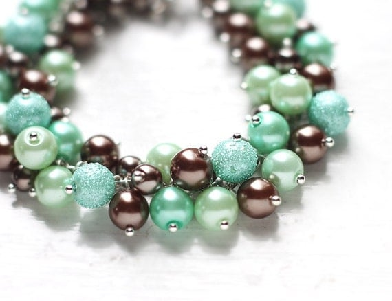 Mint Green And Brown Bridesmaid Jewelry Pearl Cluster