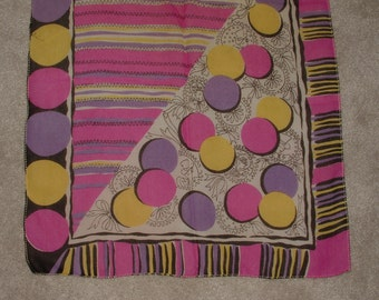 Vintage 1940's Long Scarf with Faces - Circles, Stripes