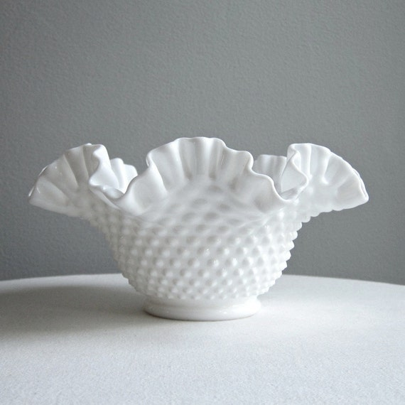 Hobnail Milk Glass Bowl by Fenton - Large White Bowl