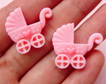 Baby Carriage Baby Trolley Baby Pram Baby Stroller Cabochon (Pink / 23mm x 20mm / 2pcs) Kawaii Decoden Scrapbooking Cell Phone Deco CAB289