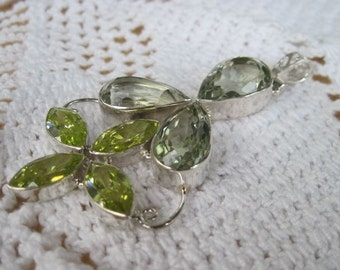 Gorgeous Green Amethyst & 925 Sterling Silver Pendant