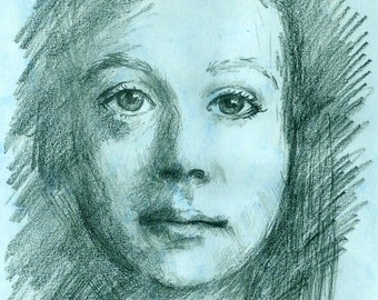 Art Print of my original pencil drawing-Portrait on pastel blue-8x10 matted hand-signed artwork-Face Drawing by artist Patty Fleckenstein