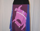 Recycled tee shirt skirt  with yoga pant style waistband size large  L0036