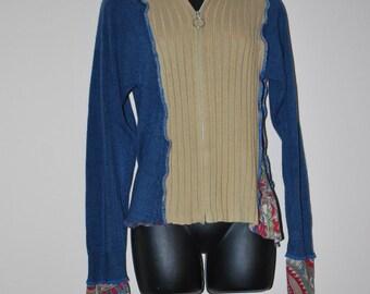 Upcycled women's sweater jacket