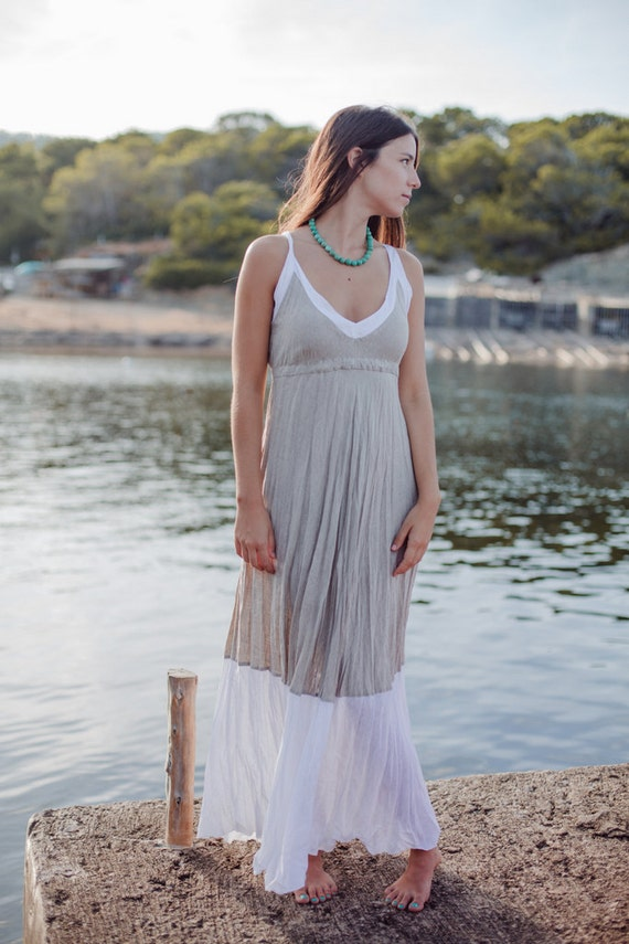 Maxi Dress in Natural Linen with White