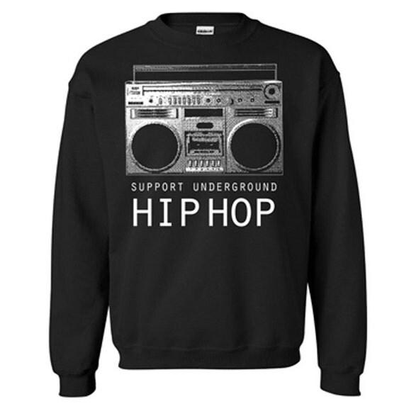 Graphic Villain Support Underground HipHop Crewneck Sweatshirt