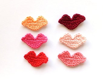 Lips applique - Crochet lips applique - red lips - engagement party decorations - pink lips wedding applique - lips decor - set of 6 ~1.5 in