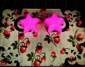Kawaii Cute Orange to Pink Glow In The Dark Star or Heart Shaped Studded Earrings