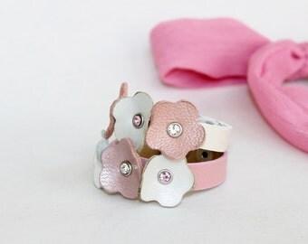 Kids Collection,Two Bracelets  Beige  and Pink Flowers,Genuine Leather  ,Swarowski Crystals  Bracelet