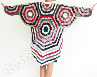 Cardigan Sweater oversized Crochet multicolor cardigan  crochet cardigan   spring