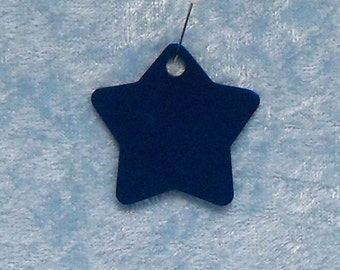 Star shaped tag, blue anodized aluminum, FREE custom engraving