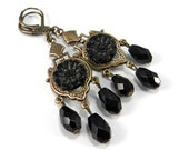 Victorian MOURNING BUTTON, Edwardian Earrings Antique Black Carved Glass, Triple Drop, Victorian STEAMPUNK Jewelry by Compass Rose Design