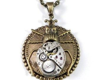 Vintage Insect Steampunk Necklace - Clockwork Gold Silver Beetle Insect, Steampunk Jewelry by Compass Rose Design