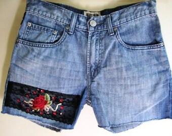 Cutoff Denim Shorts Victorian Gothic Upcycled Lace Embellished Rocker - Size Small